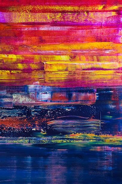 abstrakt gemalte segeltuch. öl farben auf einer palette - acrylbilder modern stock-fotos und bilder