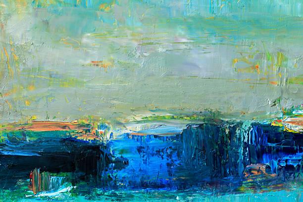 abstrakt gemalte grün gelbe und blaue strukturierte art-hintergrund. - ölgemälde modern stock-fotos und bilder