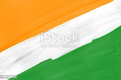 istock Abstract Painted Indian Flag Colors background, India Freedom Celebration Background. 1067280282