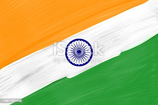 istock Abstract Painted Indian Flag Colors background, India Freedom Celebration Background. 1067281446
