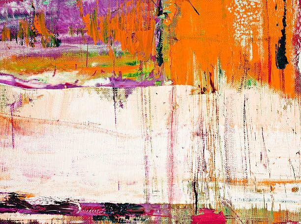 abstrakt gemalte orange art hintergründe. - ölgemälde modern stock-fotos und bilder