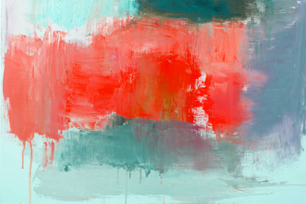 origines de l'art abstrait peint rouge et vert - image peinte photos et images de collection