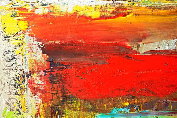 abstrakte rote und gelbe art hintergründe. - ölgemälde modern stock-fotos und bilder