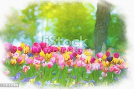 istock Abstract painted tulip art backgrounds. 1191813159