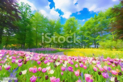 istock Abstract painted tulip art backgrounds. 1191813165