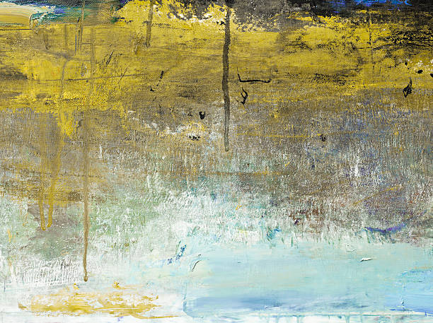 Abstract painted yellow  and bluegrayed out art backgrounds. stock photo