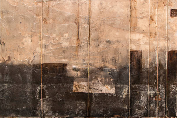 Abstract Painting Art: Beige and Black Colors - foto stock