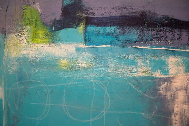L'Art abstrait peinture: Traits avec différents modèles de couleurs comme le violet, Violet, vert et bleu - Photo