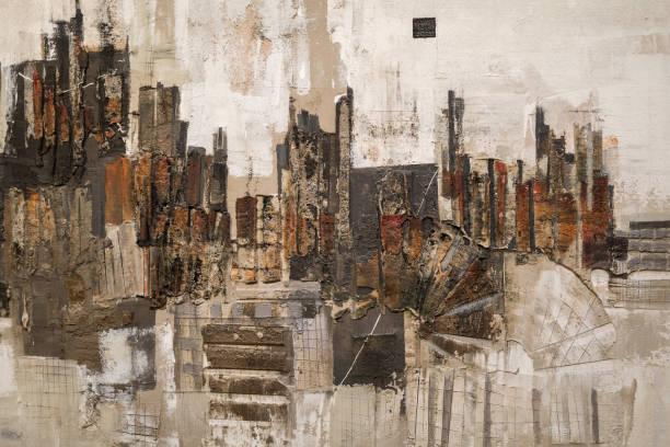 peinture abstraite art: traits avec différents motifs de couleur comme le rouge, gris et blanc. - art moderne photos et images de collection