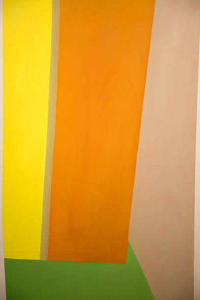 art de la peinture abstraite avec des formes géométriques jaune, orange et vert - art moderne photos et images de collection