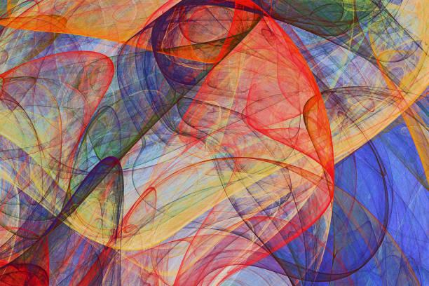 カラフルな羽ばたきのベールの抽象絵画の背景 - 美術 ストックフォトと画像