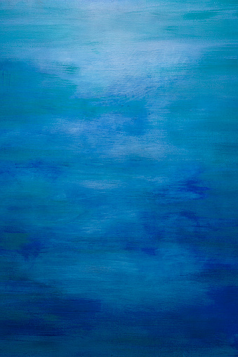 Blue Water Color Paint Texture. Abstract Painting Background. Full Frame Backdrop.