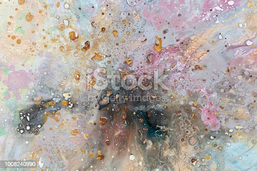 istock Abstract painting. Different spots on colorful backround. Oil pa 1008240990