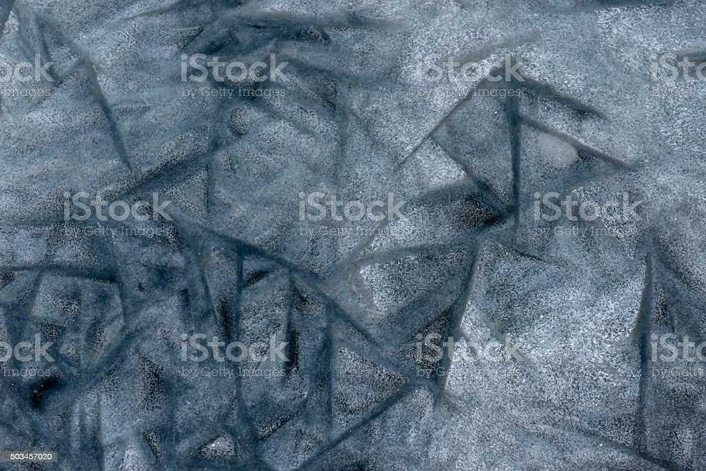 abstract painting made by frost on ice lake stock photo