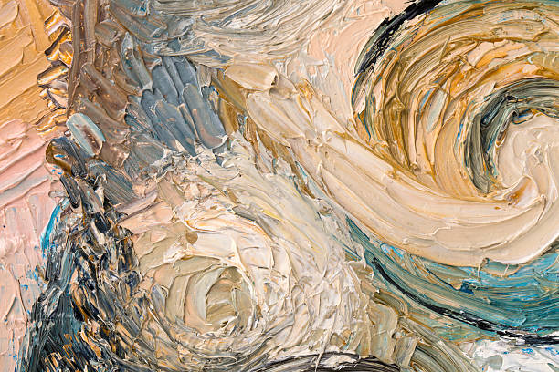 abstract painting of circles. - impressionist painting stock photos and pictures