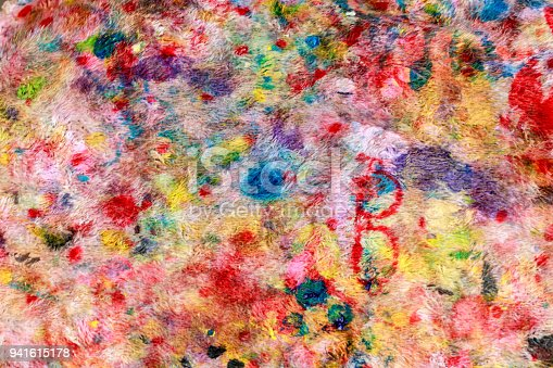 istock Abstract painting texture on cloth used to wipe paint. Abstract background and texture. 941615178