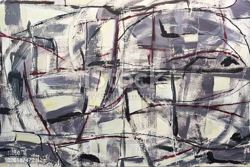 istock Abstract painting with acrylic colors on canvas 1026187472