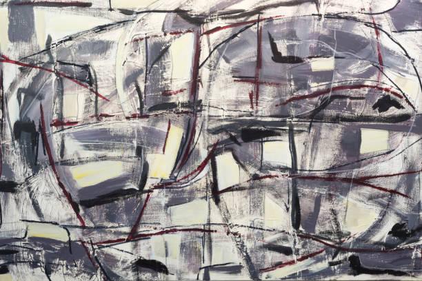 peinture abstraite aux couleurs acryliques sur toile - art moderne photos et images de collection