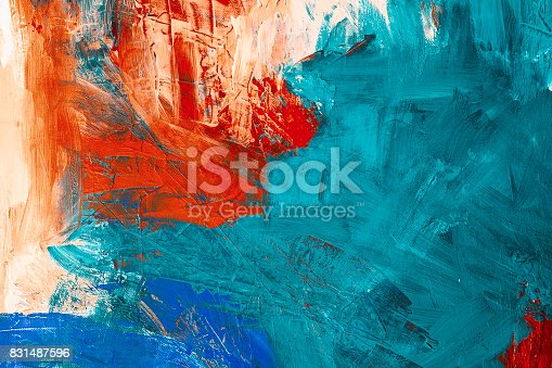 istock Abstract painting with acrylic colors on canvas 831487596
