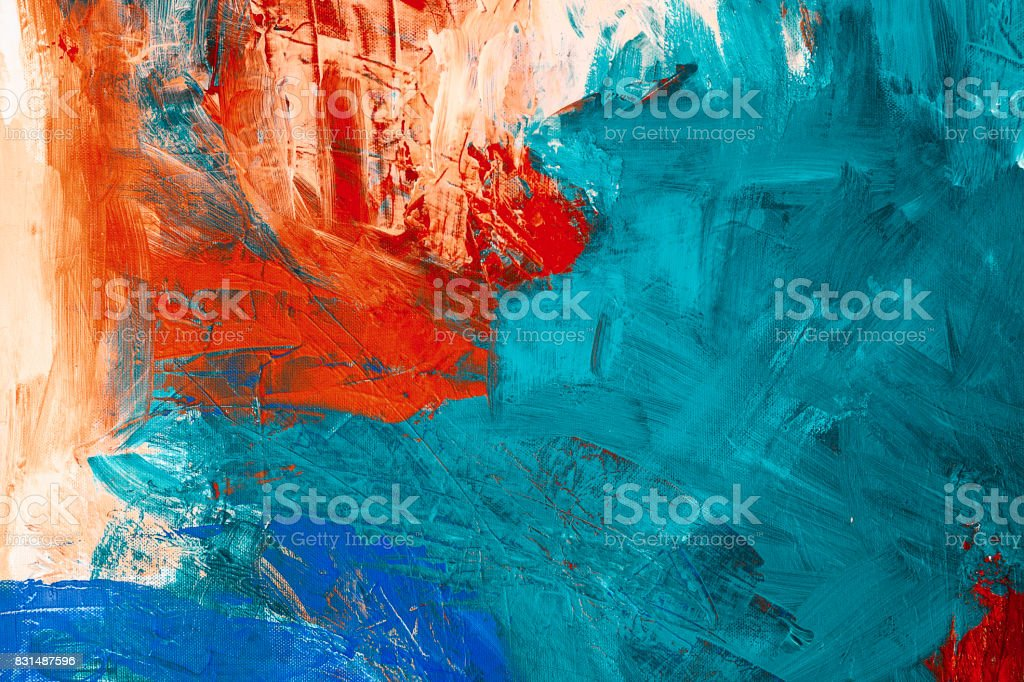 Abstract painting with acrylic colors on canvas stock photo
