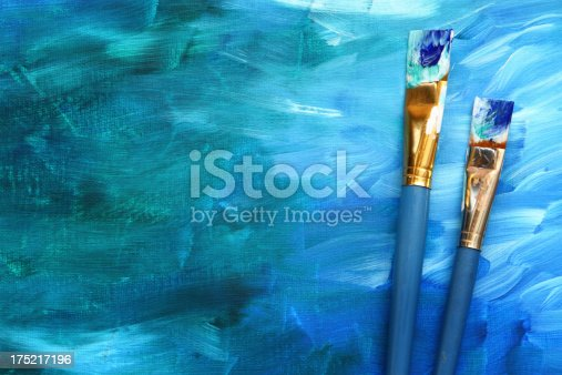 649470770 istock photo Abstract painting with paint brushes 175217196