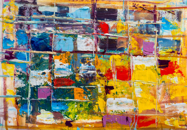 Abstract paintings. Hand drawn oil painting. Color texture. - foto stock