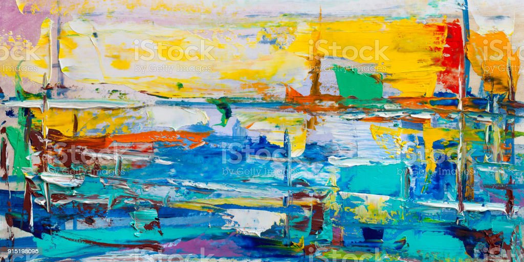 Abstract paintings. Hand drawn oil painting. Color texture. - fotografia de stock
