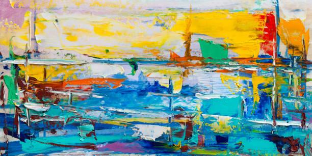 abstrakte gemälde. ölgemälde von hand gezeichnet. farbtextur. - ölgemälde modern stock-fotos und bilder