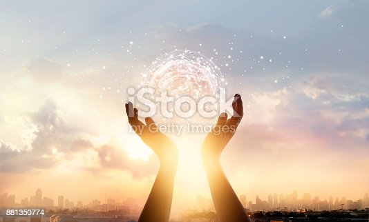 istock Abstract palm hands touching brain with network connections, innovative technology in science and communication concept 881350774
