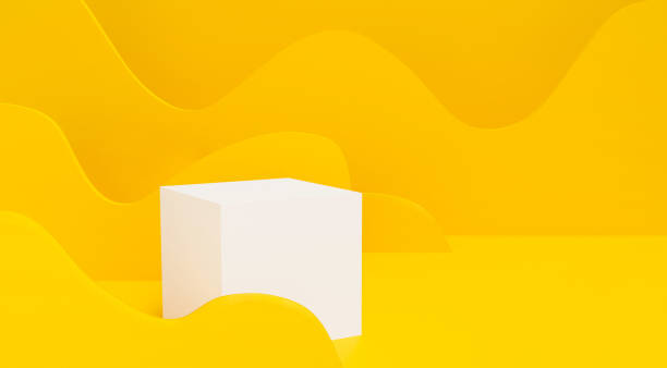 Abstract paper art of 3d white cube on yellow background. 3d render for banner, showcase, presentation, display product mockup design. Minimal Studio with pedestal. Paper cut origami style. stock photo