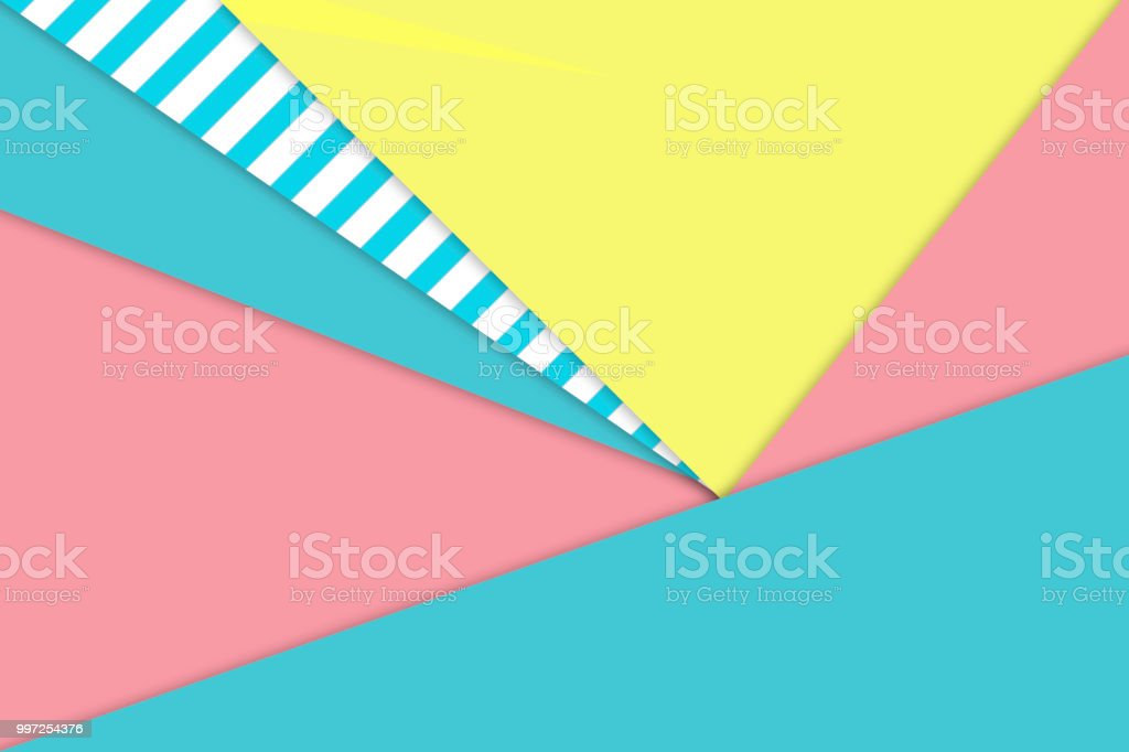 Abstract paper  background with pastel aqua pink yellow beach colors with striped pattern - material design stock photo