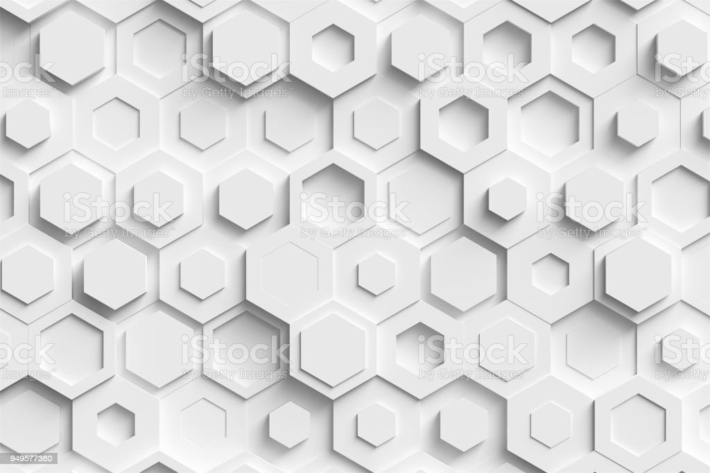 abstract paper hexagon 3d-render background. stock photo