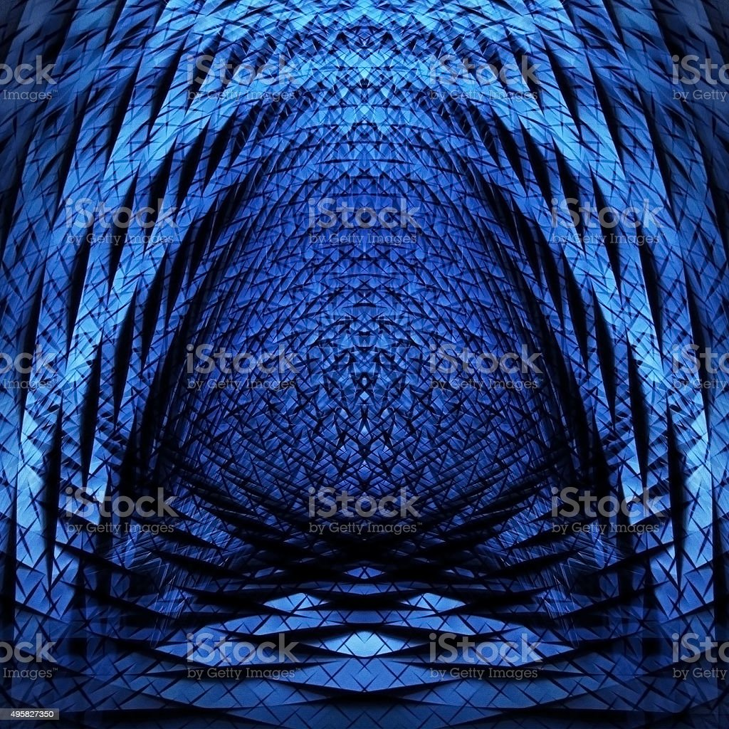 Abstract parabolic object with scaly texture of metal or crystal stock photo