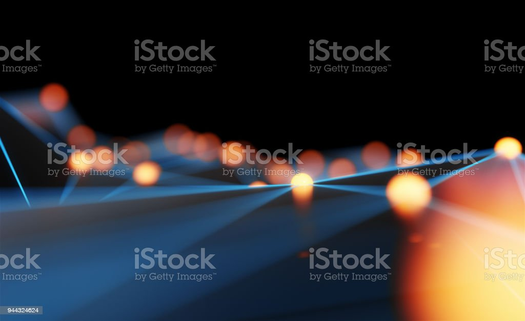 Abstract particle background. Mess network.Futuristic plexus array big data,3d rendering. stock photo