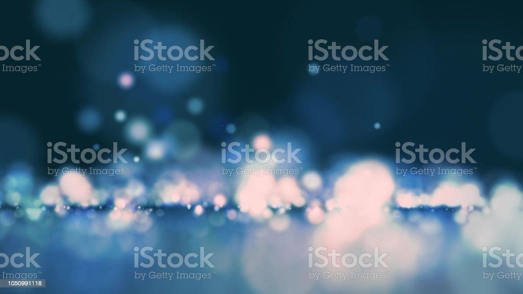 Partícula abstrata bokeh com fundo azul escuro - foto de acervo