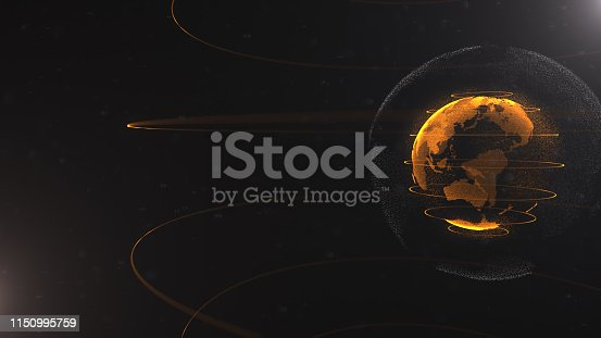 istock Abstract particle. Golden, orange planet inside the white veilted one, created of dots. Total black dackdrop. Little white dots on the background. Sphere. Planet is situated on the right side. 1150995759
