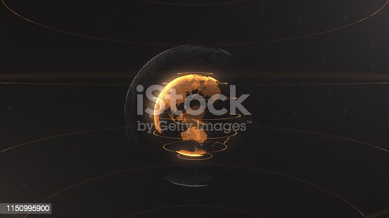istock Abstract particle. Golden, orange planet inside the white veilted one, created of dots. Total black dackdrop. Little white dots on the background. Sphere. Planet is situated on the centre. 1150995900