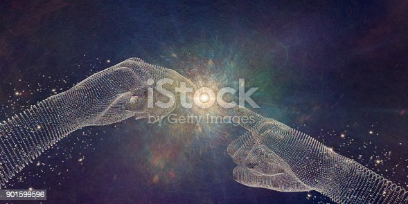 A conceptual image of a pair of hands formed form many multi coloured spheres with index fingers outstretched near point of touching in similar pose to Michelangelo's painting 'Creation Of Adam'. At the point of contact there is a bright light and swirling colours which could depict energy, light or intelligence.