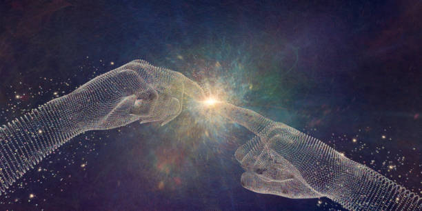 abstract particle hands touching fingertips at point of light - spirituality stock photos and pictures