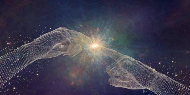 abstracte particle handen aanraken van vingertoppen op punt van licht - schepping stockfoto's en -beelden