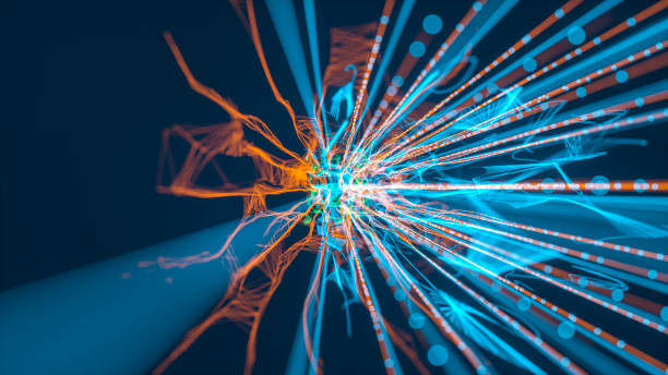 Abstract particle tendrils background stock photo