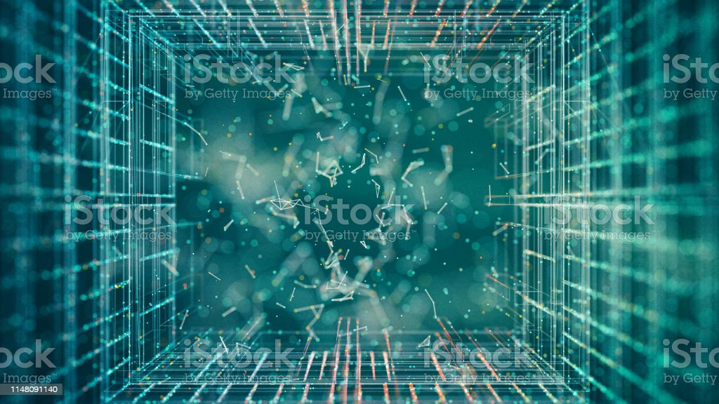 Abstract particles Abstract glowing grid background with particles in the center Abstract Stock Photo