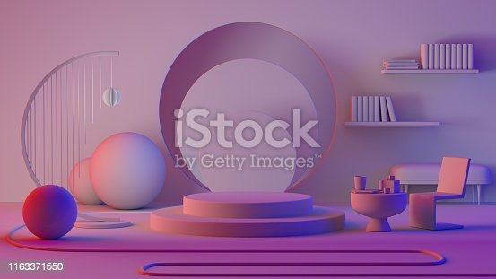 1129130396 istock photo abstract pastel color geometric shape background, modern minimalist mockup for podium display or showcase 1163371550