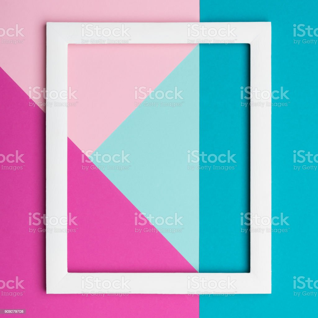 Abstract pastel colored paper texture minimalism background. Minimal geometric shapes and lines composition with empty picture frame. stock photo