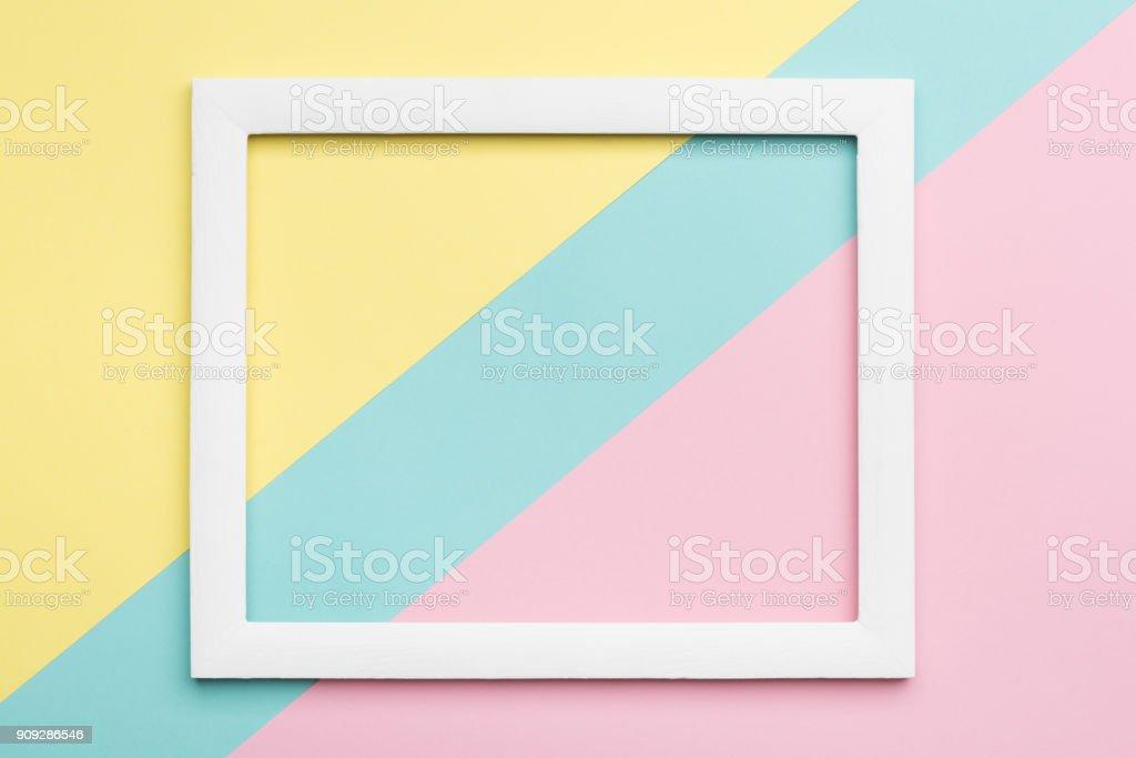 Abstrakte Pastell farbigen Papier Textur Minimalismus Hintergrund. Minimale geometrische Formen und Linien Komposition mit leeren Grafikrahmen. – Foto