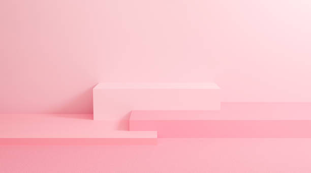 Abstract pastel on wall background with geometric shape. 3d render design for display product on website. Podium in pink scene concept. Platforms for presentation and mock up. Creative idea minimal. stock photo