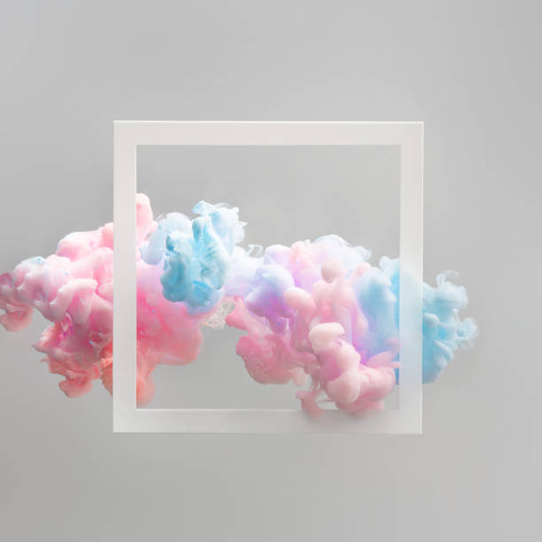 abstract pastel pink and blue color paint with pastel gray background. - vaporwave foto e immagini stock