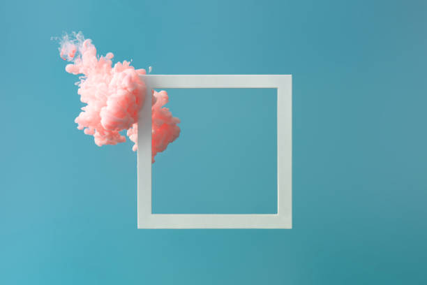 abstract pastel pink color paint with pastel blue background.. - stile minimalista foto e immagini stock