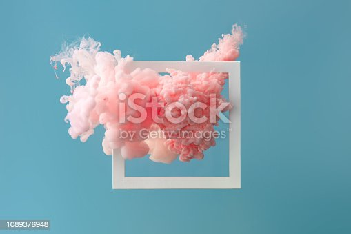 istock Abstract pastel pink color paint with pastel blue background.. 1089376948