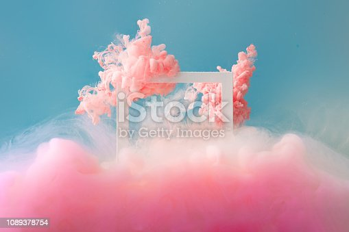 istock Abstract pastel pink color paint with pastel blue background.. 1089378754